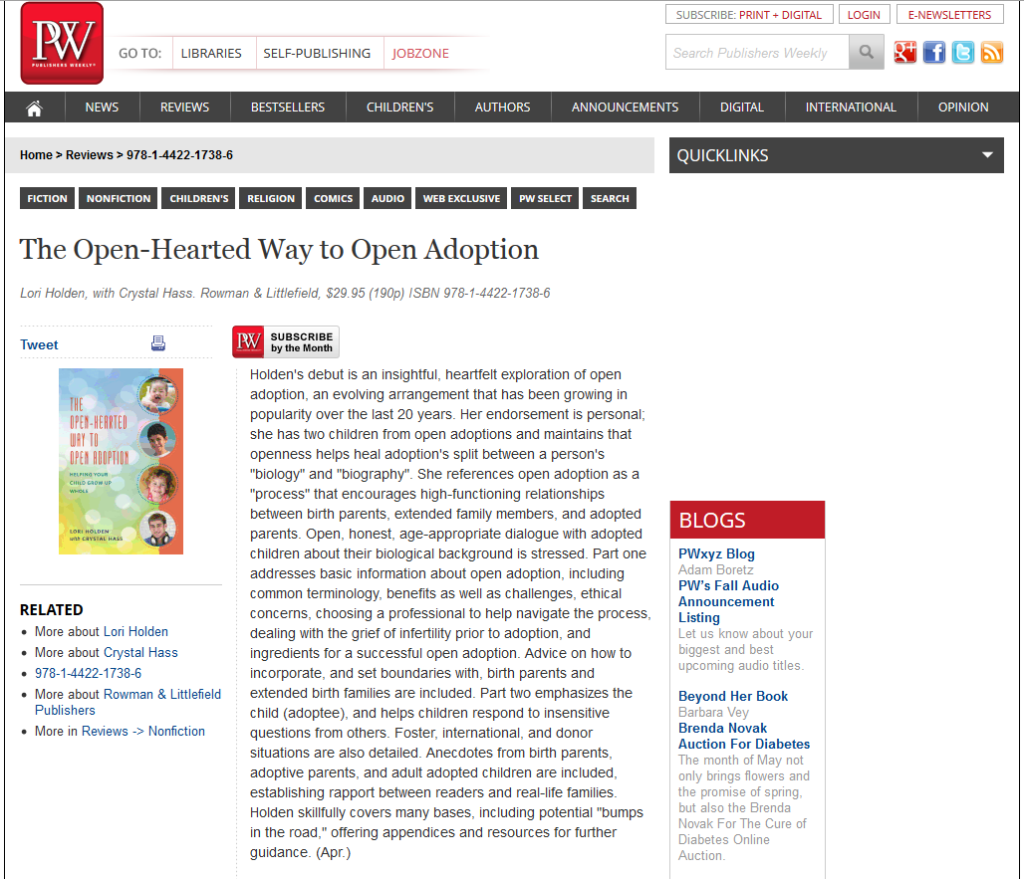 stellar book review by Publishers Weekly